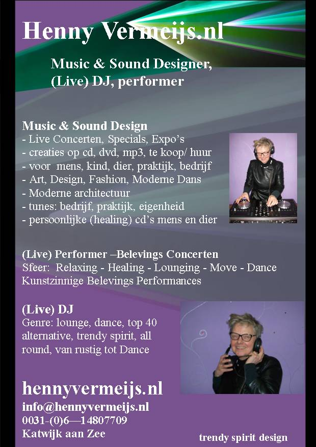 Flyer V.k. Henny DJ en Music Designer mrt  2014 publisher